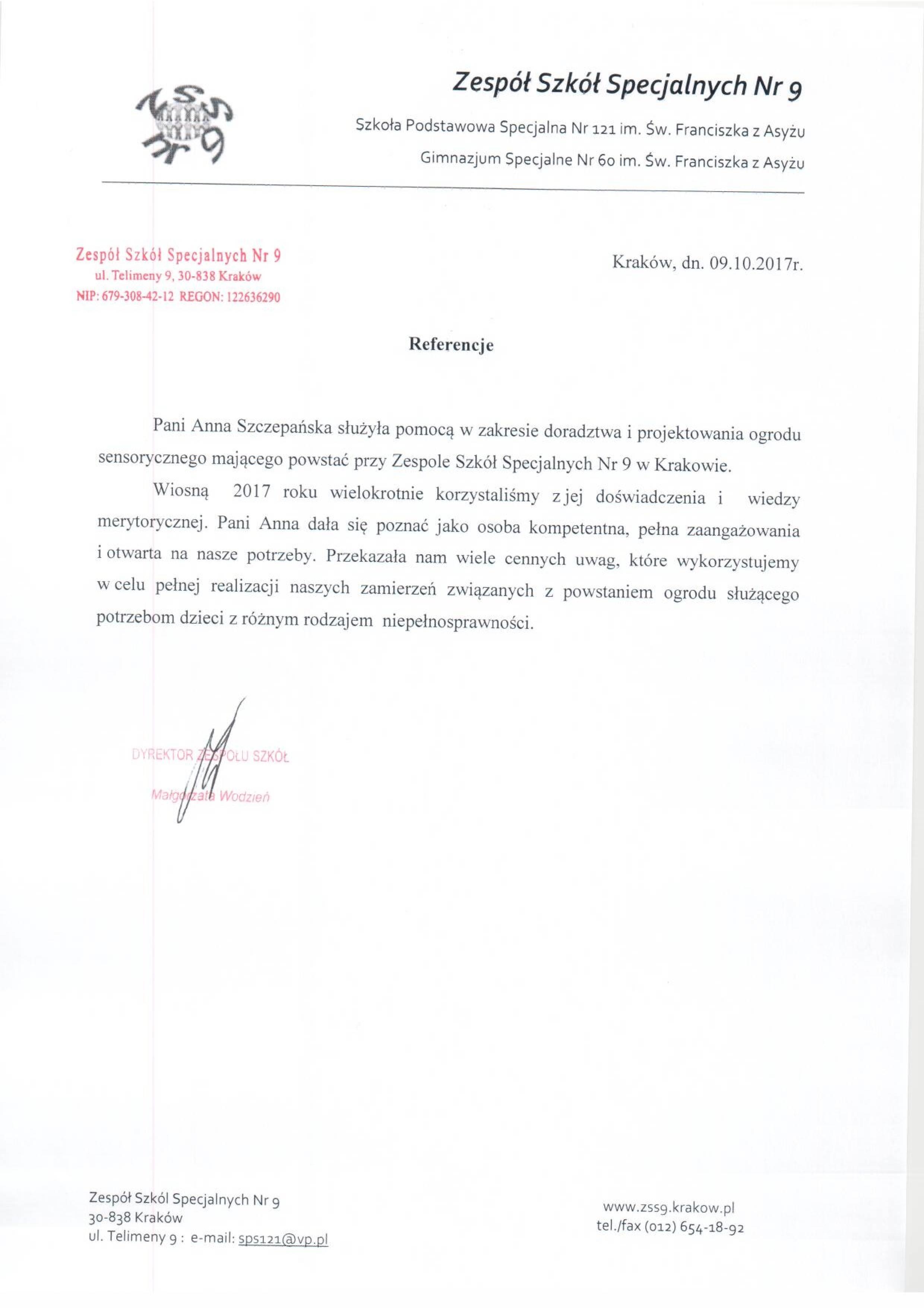 ZT referencje17 ZSS9 Telimeny KR1 - Referencje szkoła specjalna 9 Kraków